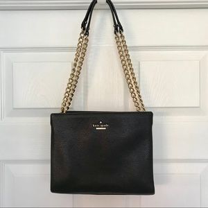 Kate Spade black leather chain strap purse